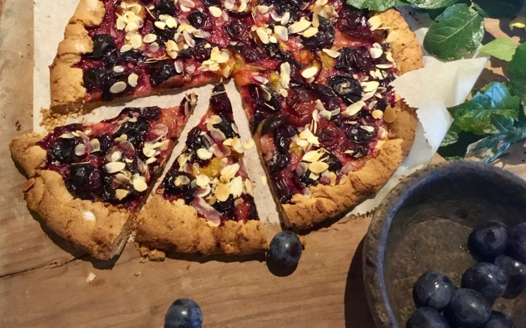 Rustic plum tart.
