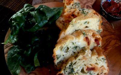 Chorizo, Mozzarella & spinach cake.