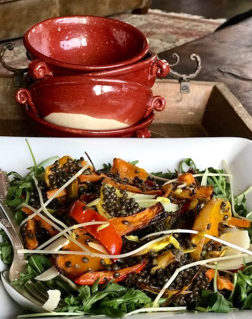 Organic black beluga lentil salad